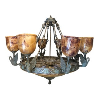 Vintage Maitland Smith Pen Shell 8 Arm Swan Verdigris Brass Patinated Iron Chandelier For Sale