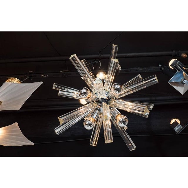 Mid-Century Modern Mid-Century Modern Sputnik Chrome Chandelier with Murano Triedre Rods by Camer For Sale - Image 3 of 8