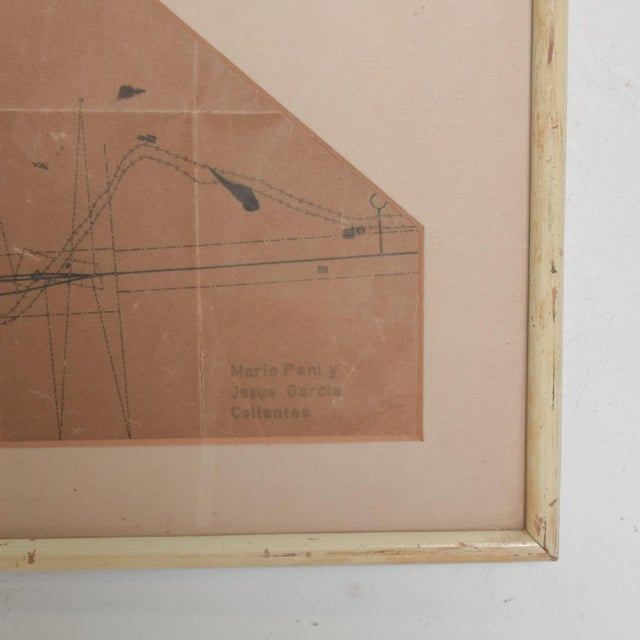 Art Architectural Sketch by Mario Pani and Jesus Garcia Collantes 1947 For Sale - Image 4 of 11