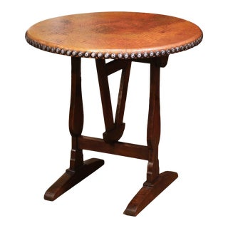 Mid-19th Century French Carved Oak and Copper Tilt-Top Wine Tasting Table For Sale