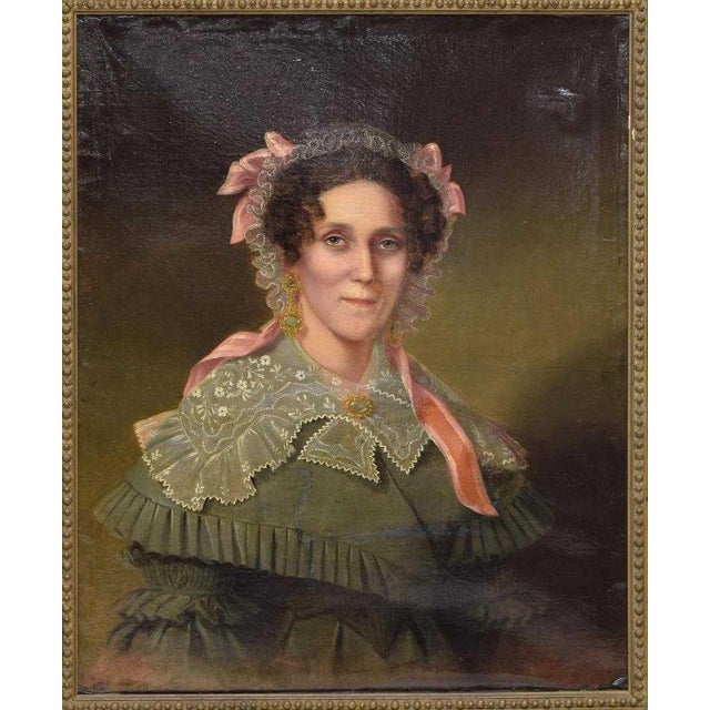 Mid 19th C. Vintage Framed Portrait of an American Woman Oil Painting For Sale In Denver - Image 6 of 6