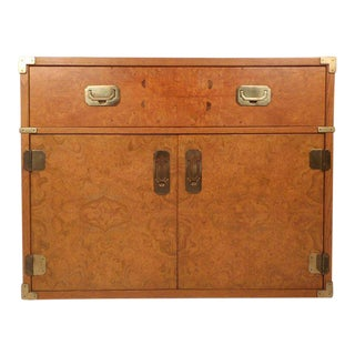 Vintage Modern Burl Campaign Chest For Sale