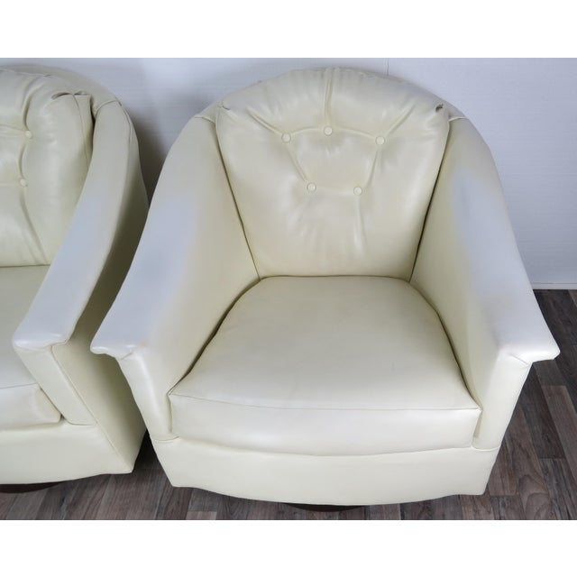 1970s 1970s Mid-Century Modern White Vinyl Swivel Chairs - a Pair For Sale - Image 5 of 13