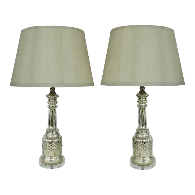 Mercury Glass Table Lamps With Lucite Bases & Finials-A Pair For Sale