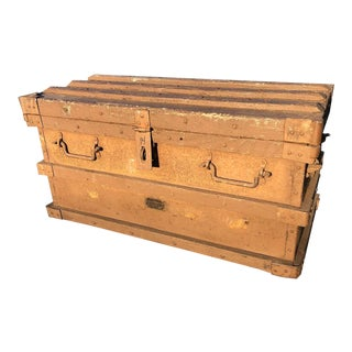 Vintage Wood Strongbox Steamer Trunk by Vanderman Mfg Co For Sale
