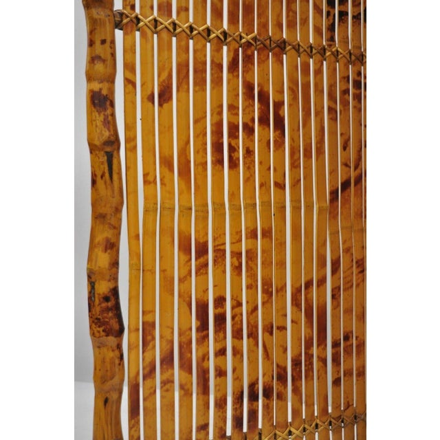 Metal Late 20th Century Bamboo Wood Panel Room Divider For Sale - Image 7 of 10