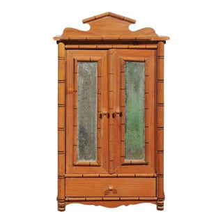 Antique French Miniature Pine Armoire For Sale