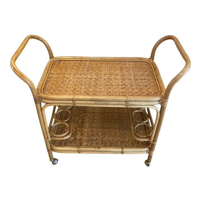 Vintage 1970s Boho Chic Bamboo Rattan Bar Cart For Sale