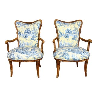 Vintage Yellow & Blue Armchairs - a Pair For Sale