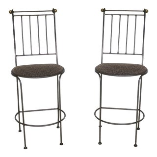 Pair Charleston Forge Iron Counter High Bar Chairs For Sale