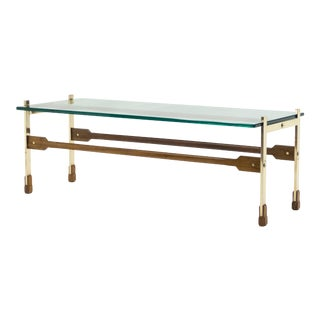 1960s Italian Santambrogio & De Berti Brass Rosewood Coffee Table For Sale