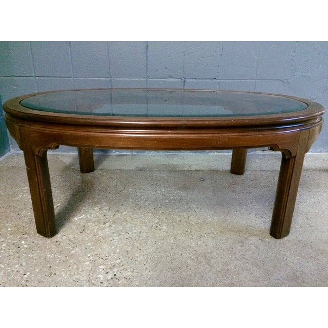 Vintage Large Oval Wood & Glass Coffee Table - Image 2 of 3