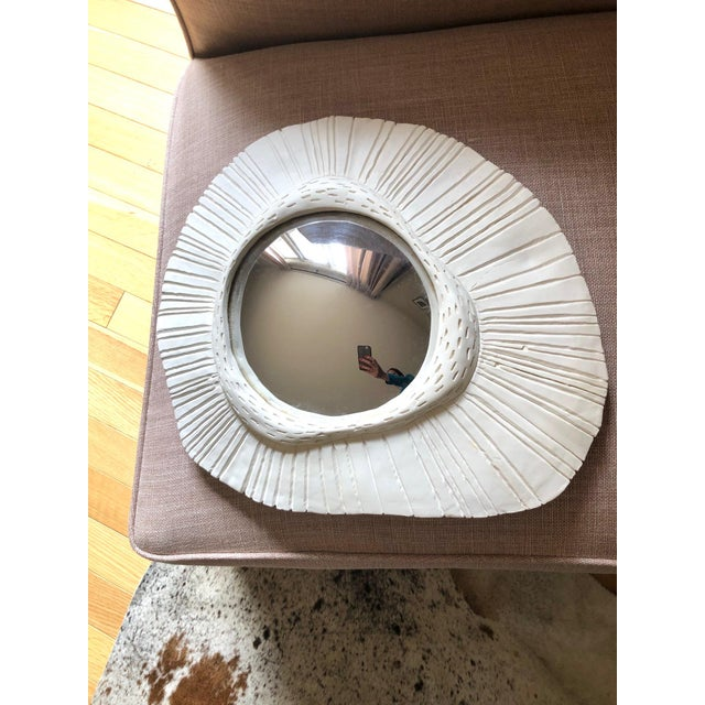 Contemporary French Plaster Convex Sunbust Mirror For Sale - Image 3 of 3