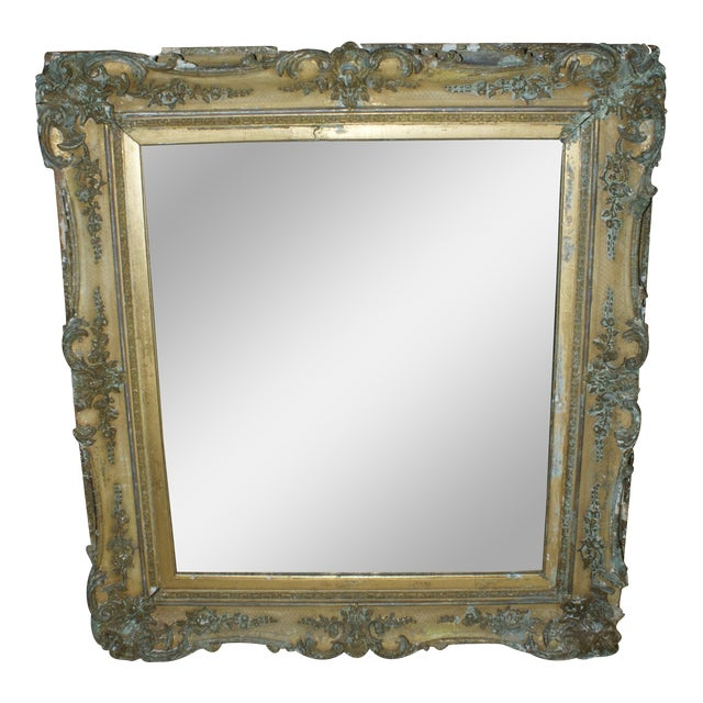 1800s Antique Gold Mirror For Sale