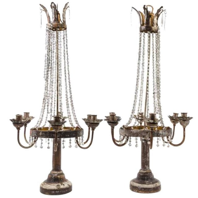 Italian Pair of Italian Neoclassical Tole, Giltwood and Crystal Six-light Candelabra For Sale - Image 3 of 3