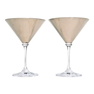1970s Vintage Artisan White Gold Leaf Martini Glasses-a Pair For Sale