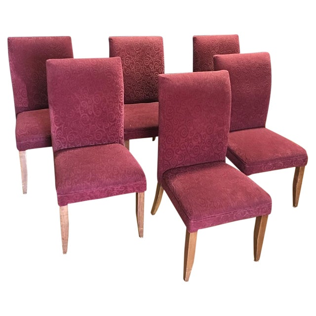 Red Armless Chairs - Set of 6 - Image 1 of 9