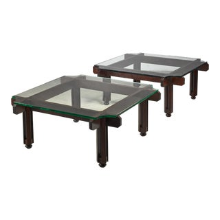 Fulvio Raboni Pair of Wood and Glass Coffee Table, Italy For Sale
