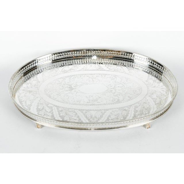 Vintage English sheffield silver plated on copper oval barware / serving footed gallery tray. The tray is in excellent...