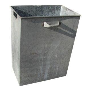 Industrial Style Galvanized Steel Waste Basket For Sale