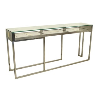 A large Liwans design Brushed Steel Console