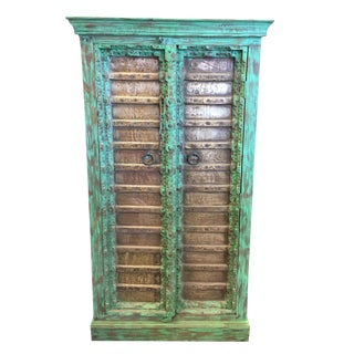 1920s Jaypur Grounding Brass Vintage Green Patina Old Doors Storage Kitchen Cabinet For Sale