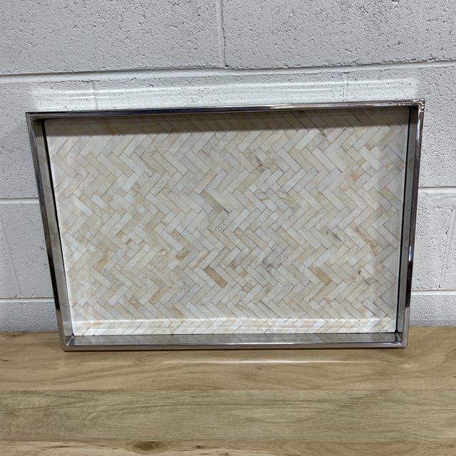 Mid-Century Modern Regina Andrew Bone and Chrome Tray For Sale - Image 3 of 6