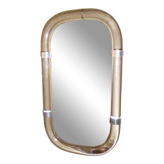 Floating Tubular Lucite and Aluminum Wall Mirror 1970s For Sale