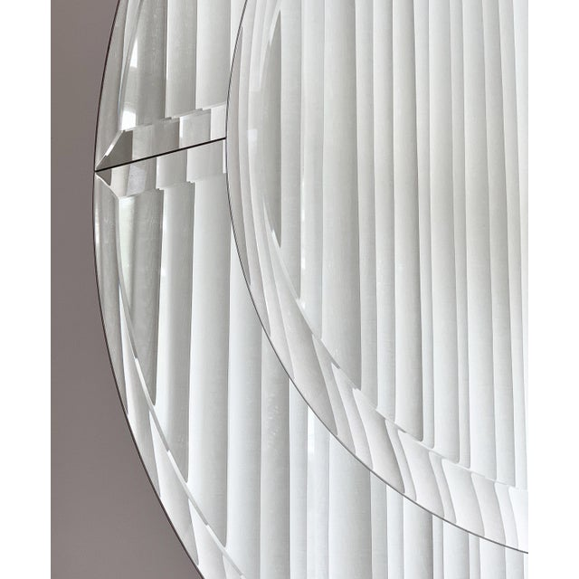 Glass Karl Springer Large Saturn Wall Mirror For Sale - Image 7 of 10