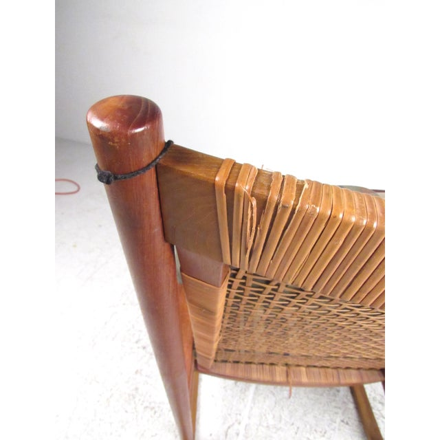 Brown Scandinavian Modern Teak and Cane Rocking Chair by Hans Olsen For Sale - Image 8 of 13