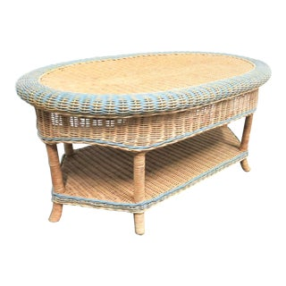 Grange Painted Wicker Coffee Table For Sale