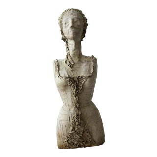Antique 1920's French Female Art Dress Form Mannequin on Steel Stand For Sale