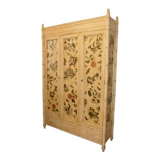 Century Furniture Hollywood Regency Decoupaged Cabinet With Faux Bamboo Accents For Sale