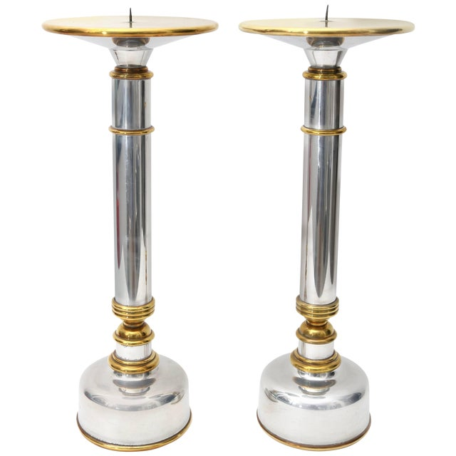 1970s Polished Aluminium and Brass Candle Holders - a Pair For Sale