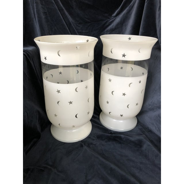 Glass Moon & Stars Decorated Large Scale Frosted Glass Hurricane Shades - A Pair For Sale - Image 7 of 7