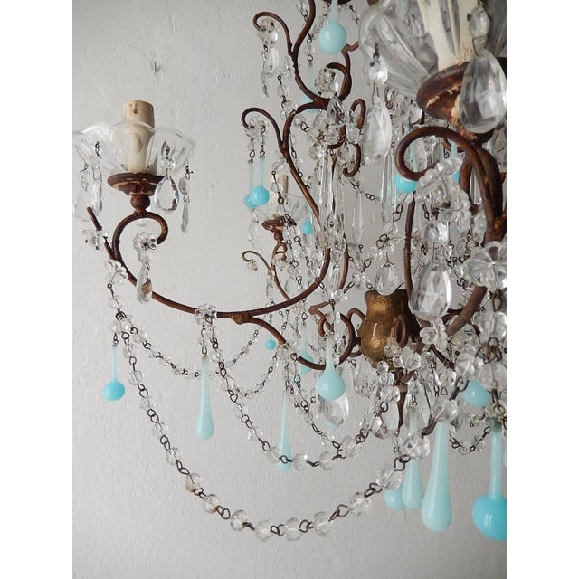 Wood French Robins Egg Blue Opaline Beaded Chandelier, circa 1890 For Sale - Image 7 of 12