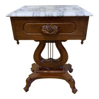 Antique Italian Harp Wood + Marble Side Table For Sale