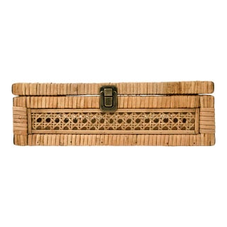 Leigh Rattan Storage Box in Mustard For Sale