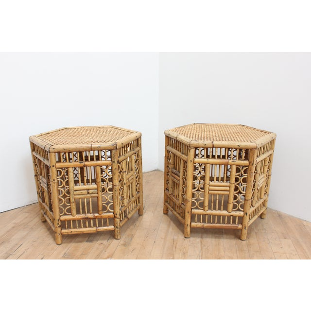 Chinese Chippendale Hexagonal Side Tables- Brighton Pavilion Pair For Sale In San Francisco - Image 6 of 10