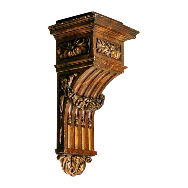 Large French Carved Wood and Gilded Corbel - Image 1 of 6
