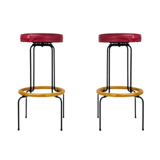 Pair of Mid-Century Iron & Bamboo Bar Stools For Sale