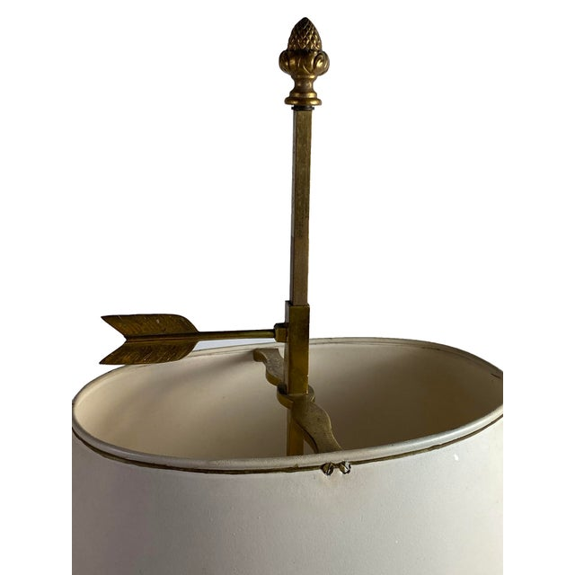 French Louis XVI Style Bouillotte Lamp With White Tole Shade For Sale - Image 3 of 9