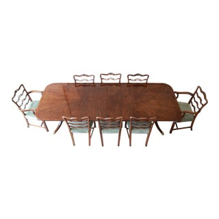 Drexel Heritage Banded Mahogany Double Pedestal Extension Dining Table With Eight Chairs For Sale