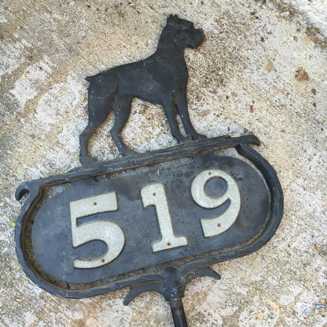 Bulldog Curb and Lawn Address Vintage Marker For Sale - Image 5 of 11