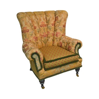 e.j. Victor Custom Upholstered Channel Back Mr. Loud Wing Chair For Sale