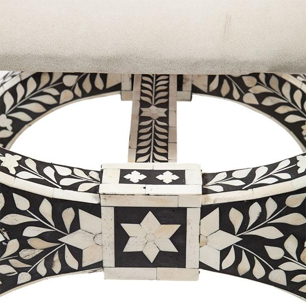 Black & White Inlaid Bone Stool For Sale - Image 4 of 4