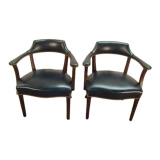 Hancock and Moore Pair of Leather Arm Chairs For Sale