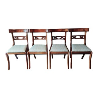 Early 20th Century English Regency Mahogany Dining Side Chairs - Set of 4