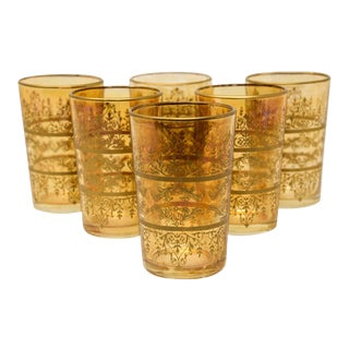Moorish Glasses with Amber and Gold Design - Set of 6 For Sale