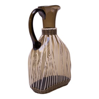 Large Italian Modern Blown Glass Pitcher With Woven Rubber Webbing For Sale